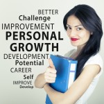 Woman holding a guide with personal development words around her